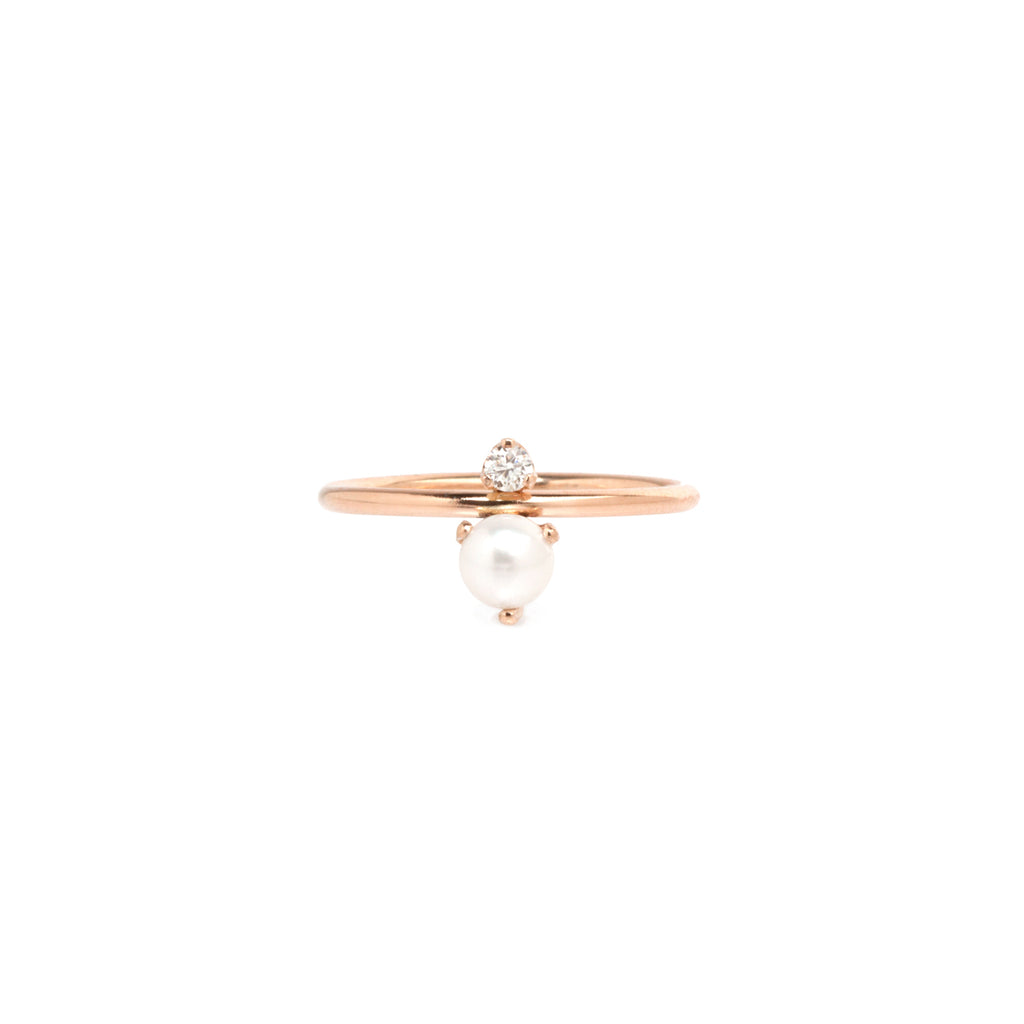 14k pearl and diamond stacked ring