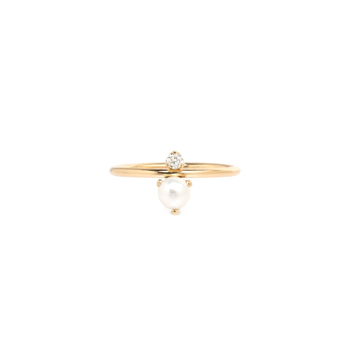 14k prong set pearl and diamond ring