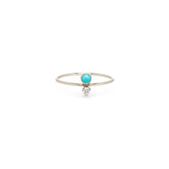 14k turquoise & diamond stacked ring