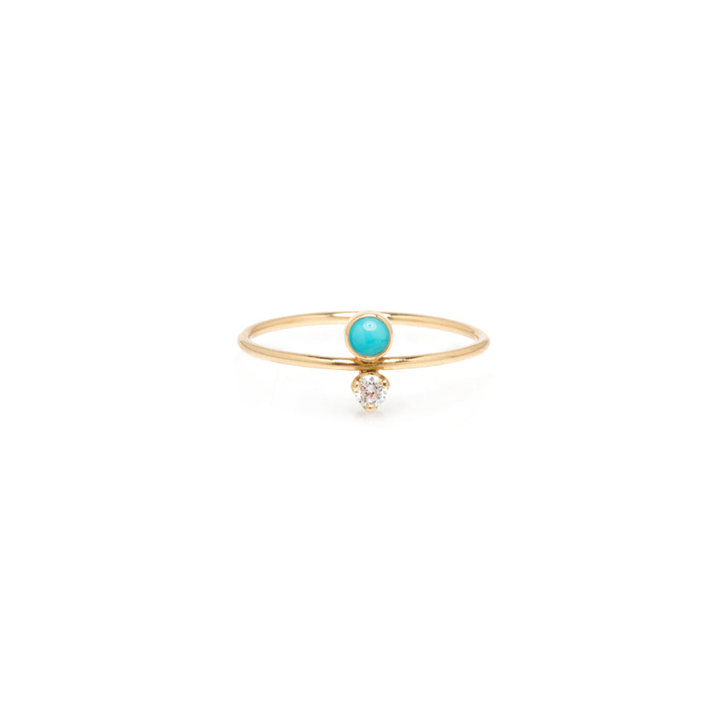 14k turquoise and diamond stacked ring