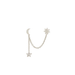 14k Total Eclipse Sun & Moon Double Stud Earring with Diamond Star Drop