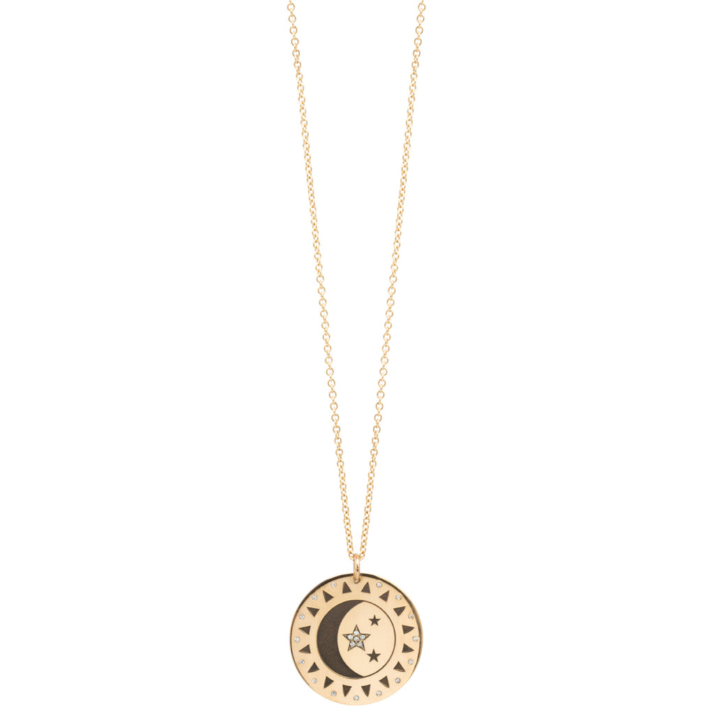 14k Total Eclipse Large Medallion Necklace