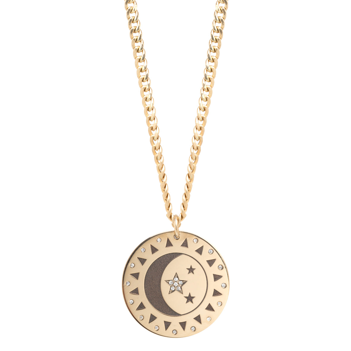 14k Total Eclipse Large Medallion Curb Chain Necklace