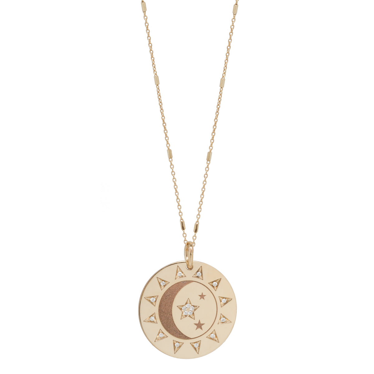 14k Total Eclipse Medium Medallion Necklace