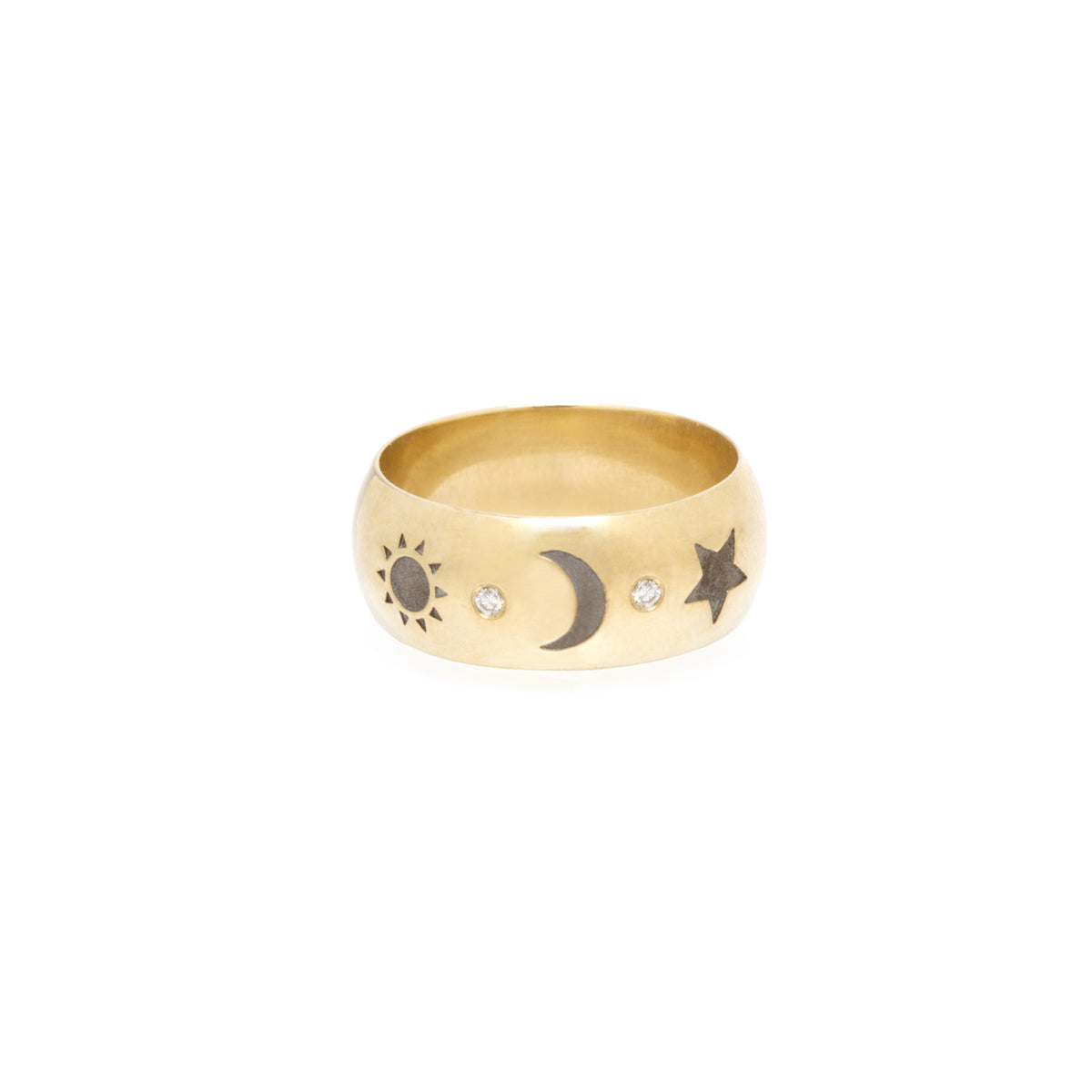 14k Total Eclipse Wide Band Ring with Engraved Sun, Moon & Star