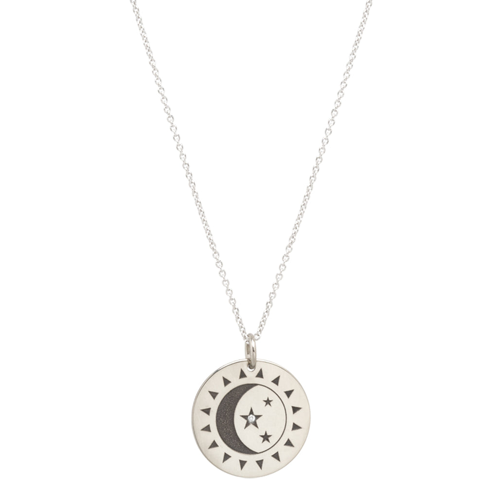 14k Total Eclipse Small Medallion Pendant