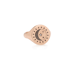 14k Total Eclipse Engraved Sun, Moon & Star Signet Ring