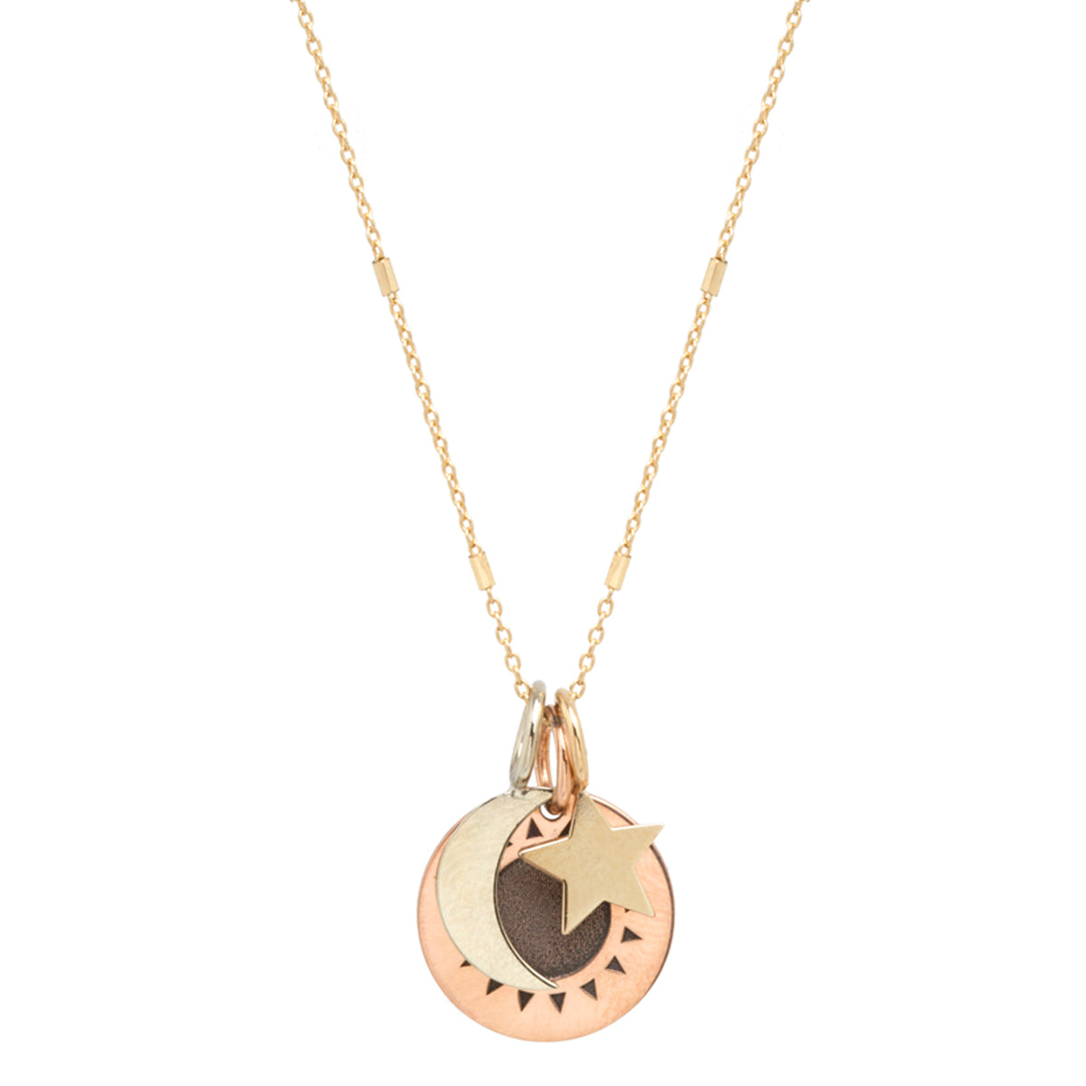 14k Total Eclipse Small Sun, Moon & Star Charm Necklace