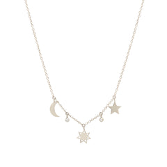 14k Total Eclipse Dangling Sun, Moon, Star & Diamond Necklace