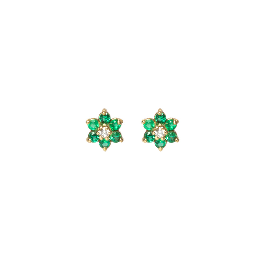 14k gold prong set flower studs with emerald petals and a diamond center