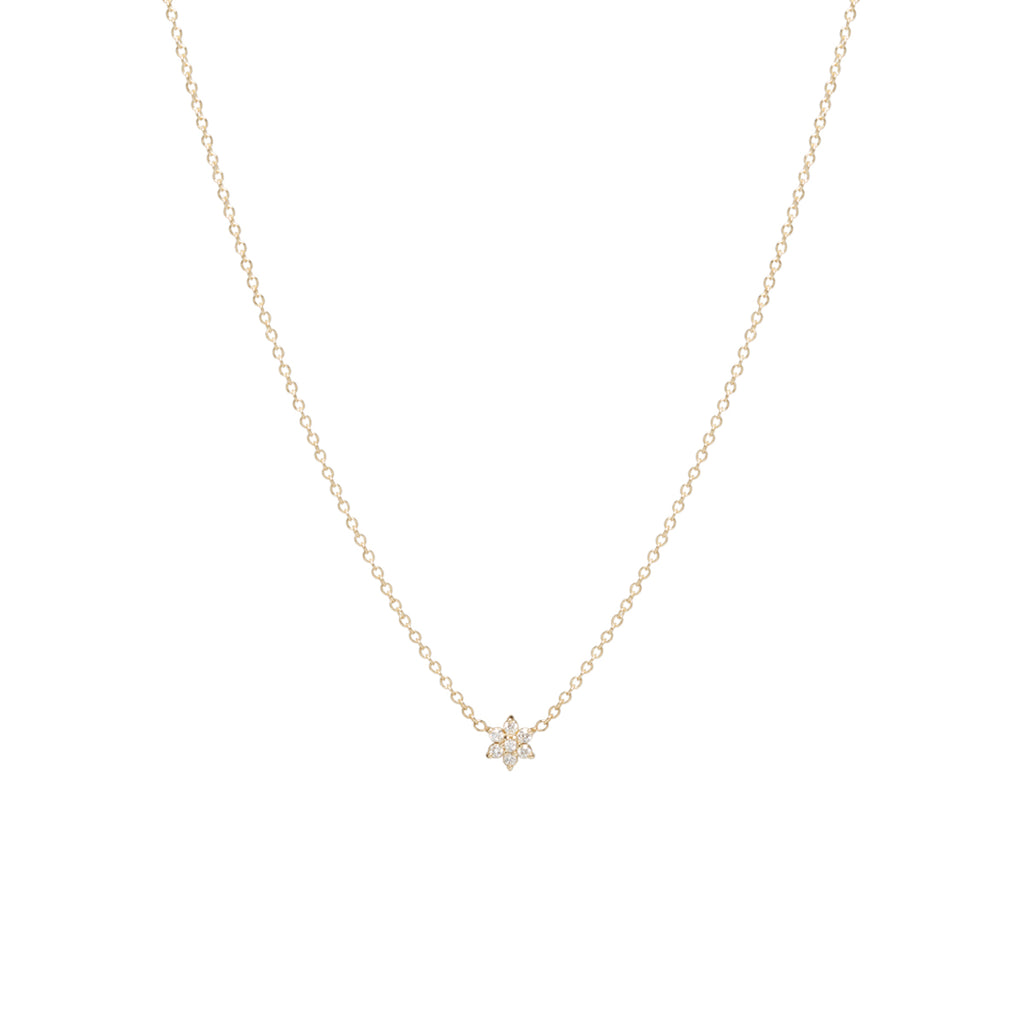14k tiny prong set flower diamond necklace