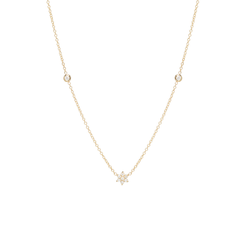 14k tiny prong set flower diamond necklace with floating diamonds