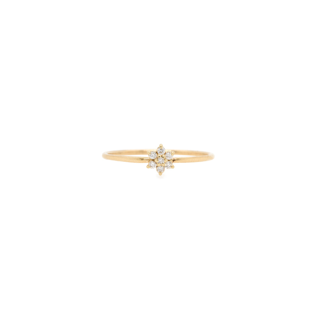 14k prong diamond flower ring
