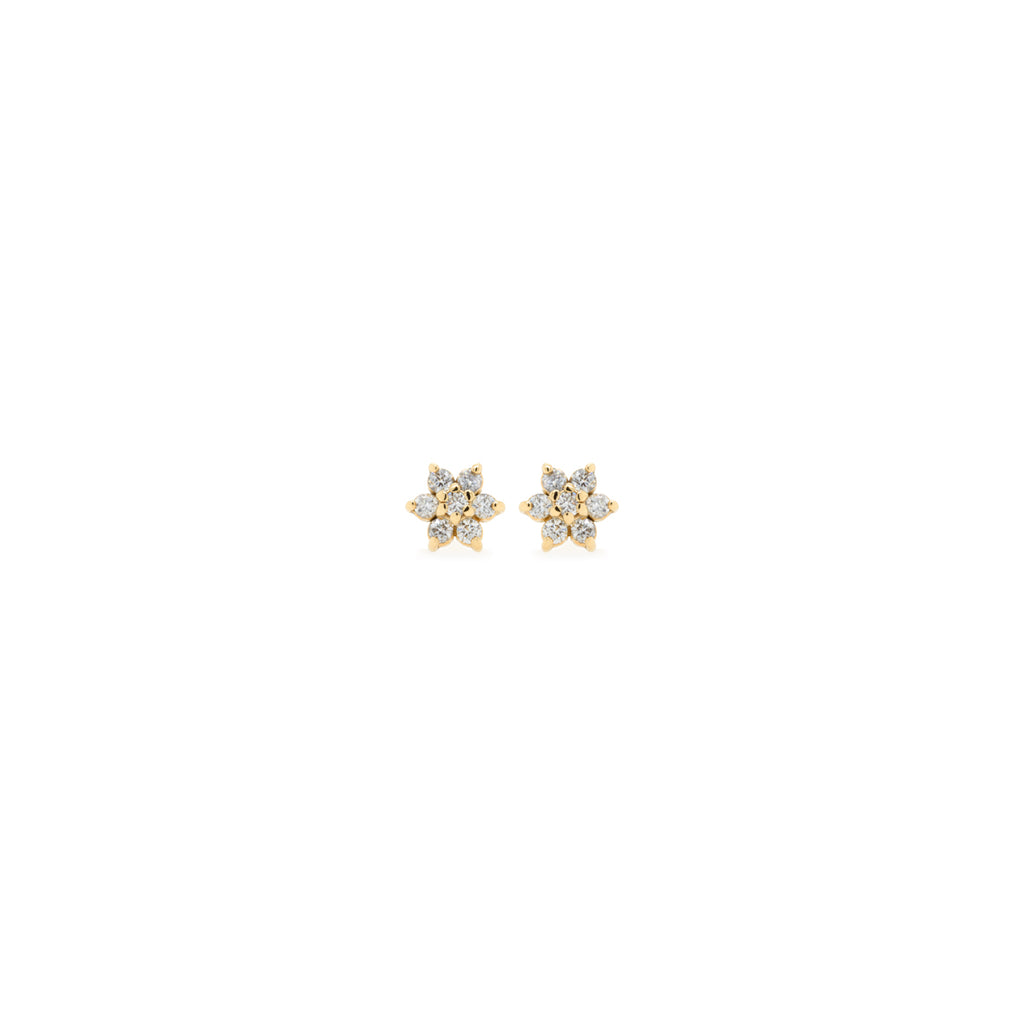 14k prong diamond flower studs
