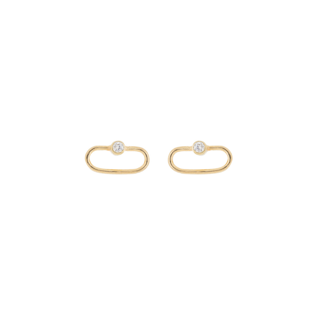 14k tiny oval and bezel set diamond stud earrings