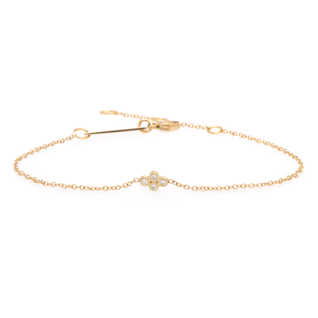 14k tiny quad diamond bracelet
