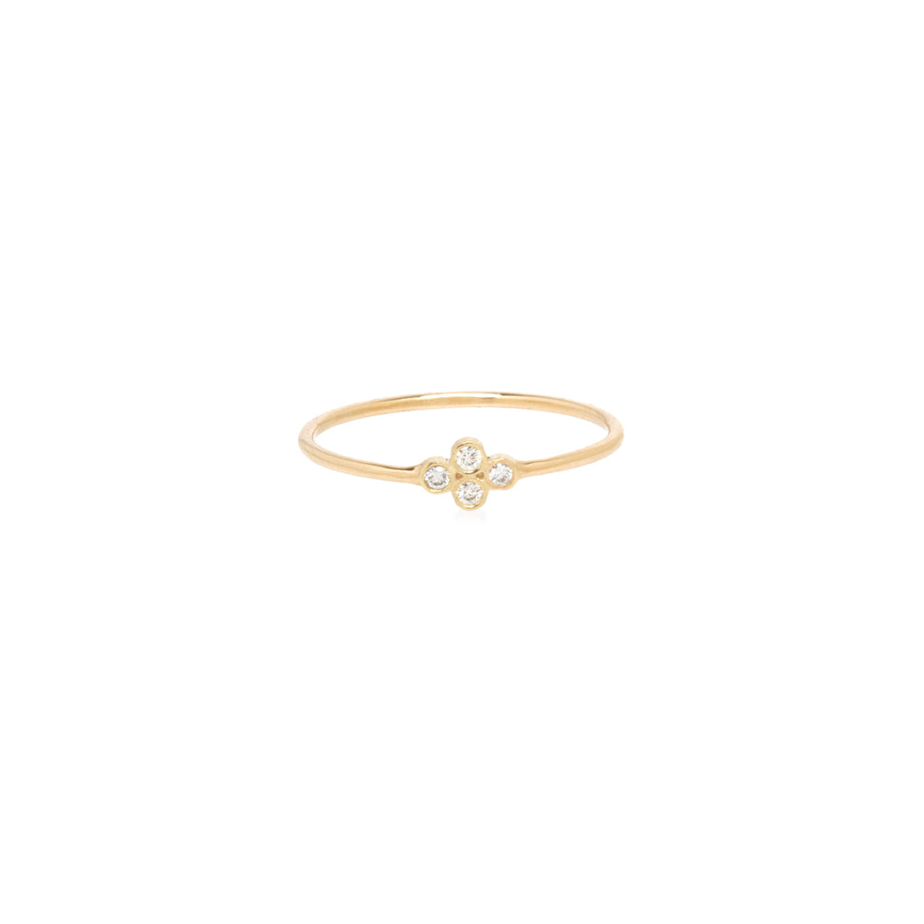 14k tiny quad diamond bezel ring
