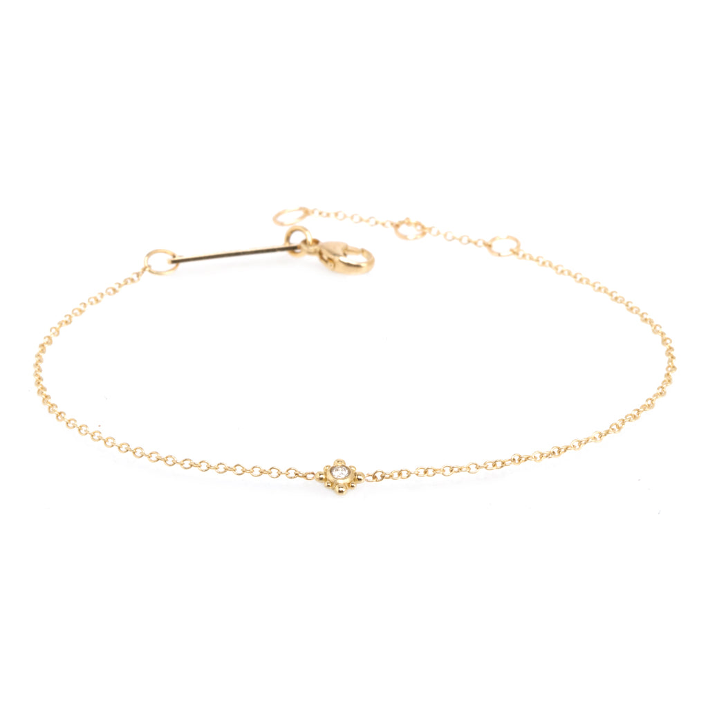 14k tiny bead starburst & diamond bracelet