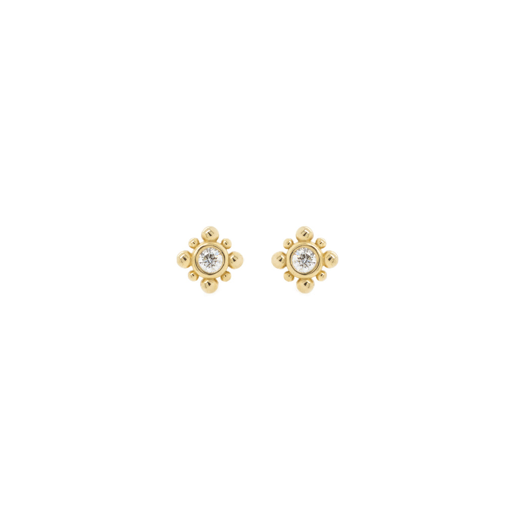 14k gold bead & diamond starburst earrings