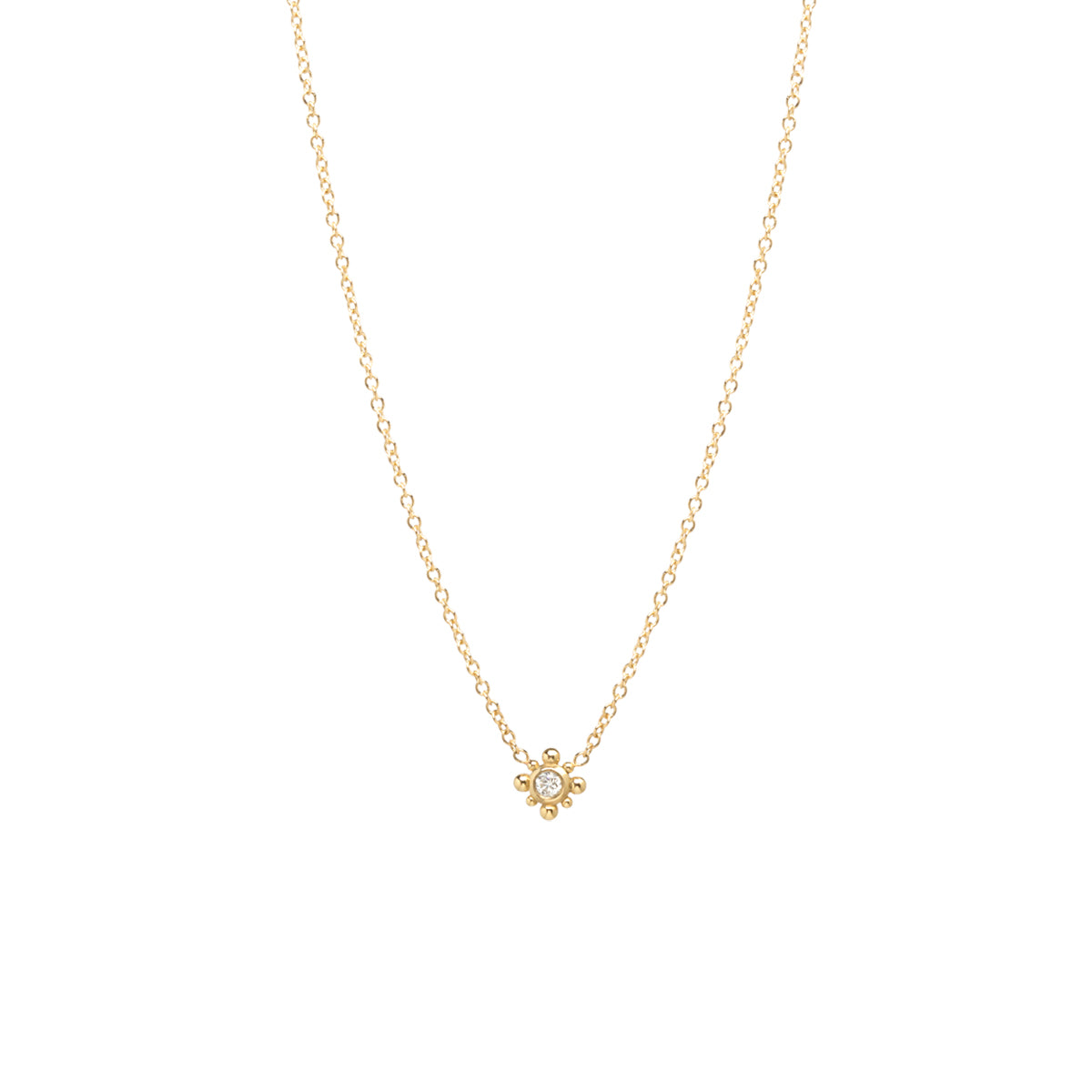 14k tiny bead starburst & diamond necklace