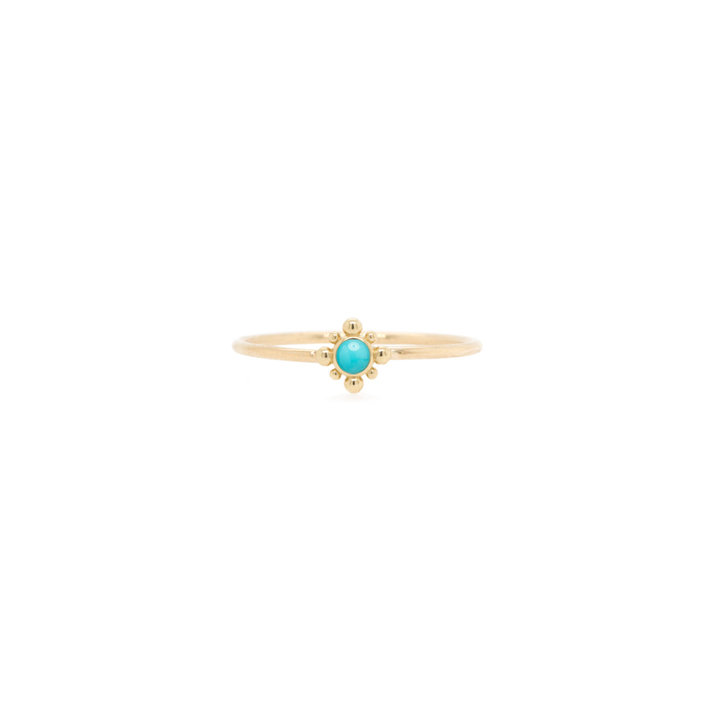 14k tiny bead starburst and turquoise ring