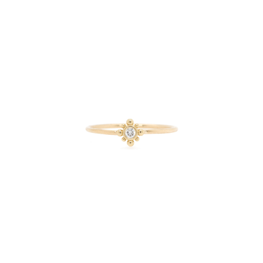 14k tiny bead starburst and diamond ring
