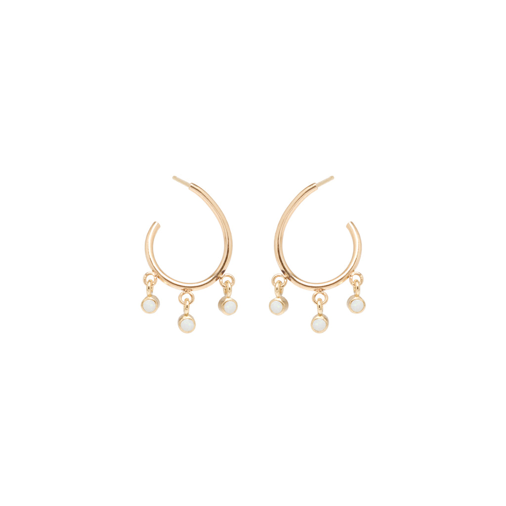 Zoë Chicco 14kt Yellow Gold Dangling Opal Front To Back Small Hoop Earrings