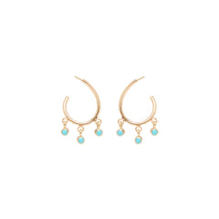 14k dangling turquoise front to back small hoops