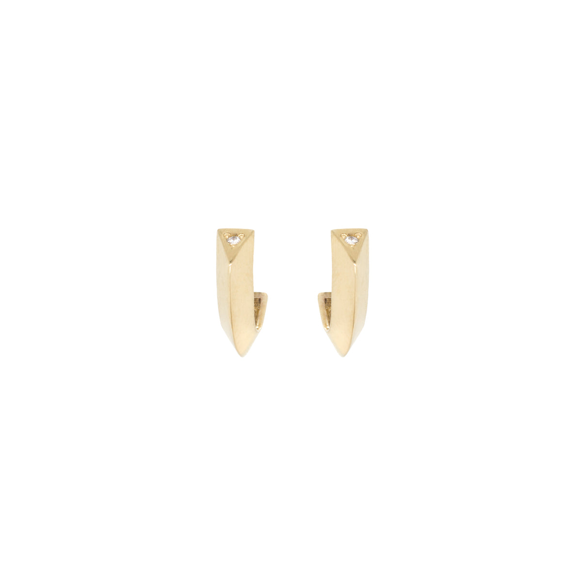14k single diamond knife edge thick hoops
