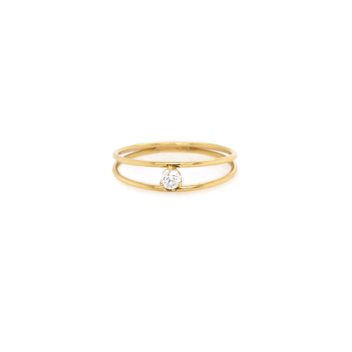 14k gold double band ring with prong set diamond