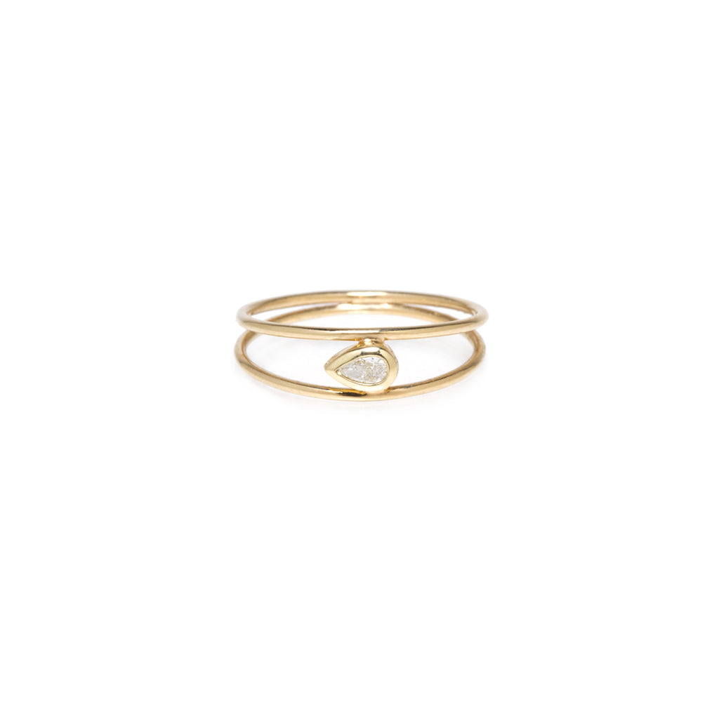 14k pear diamond double band ring
