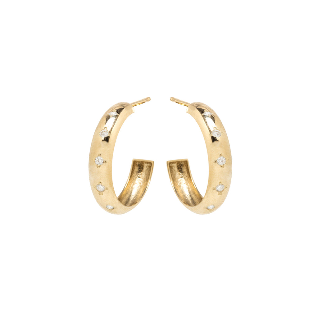 14k medium chubby hoops with 6 star-set diamonds