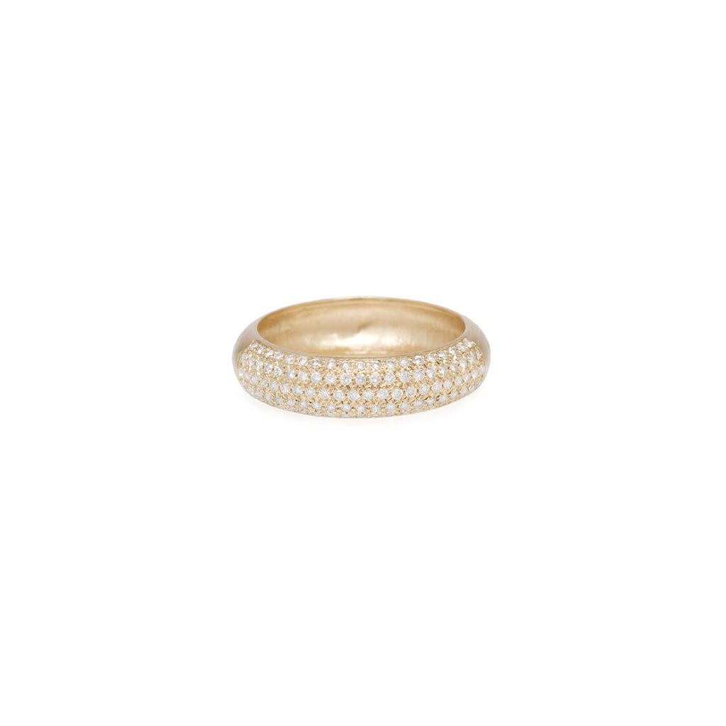 14k half round wide band with pave diamonds