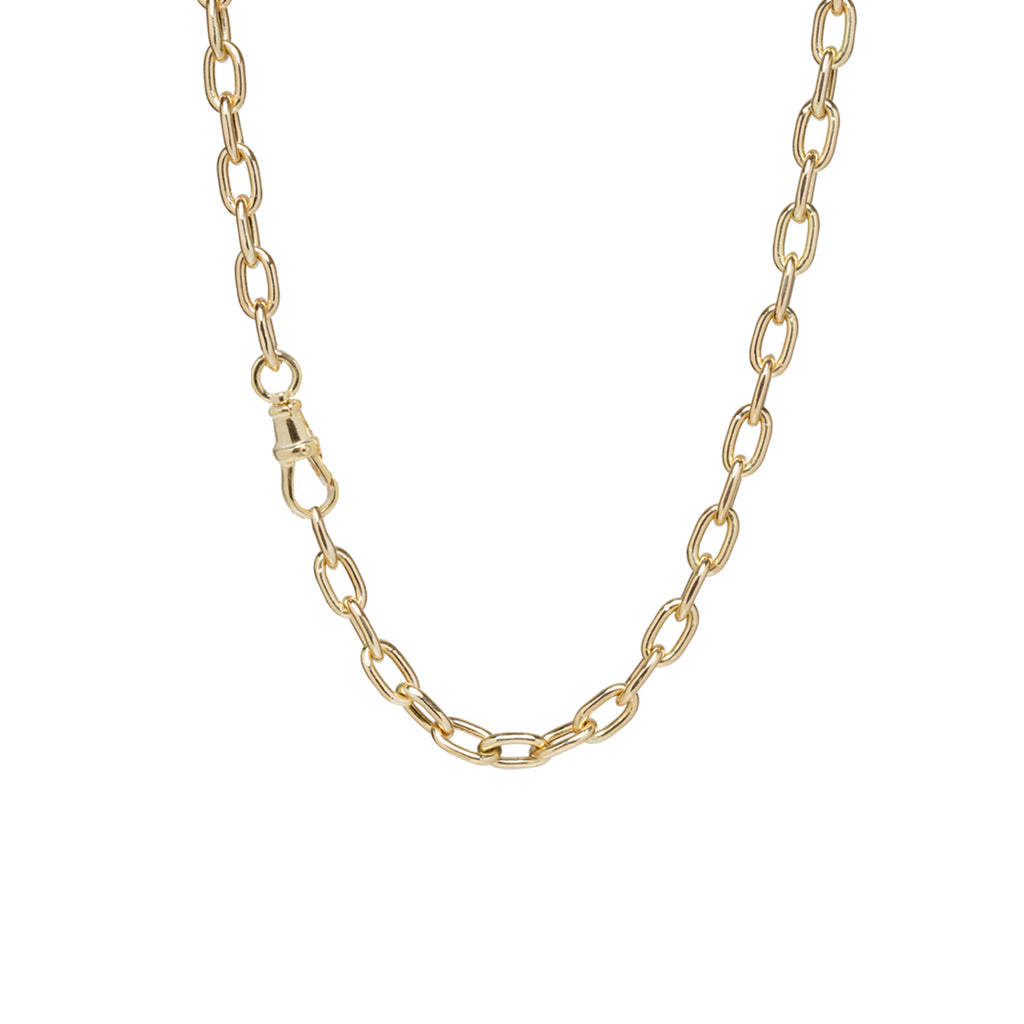 14k gold extra large square oval link chain necklace with single swivel clasp