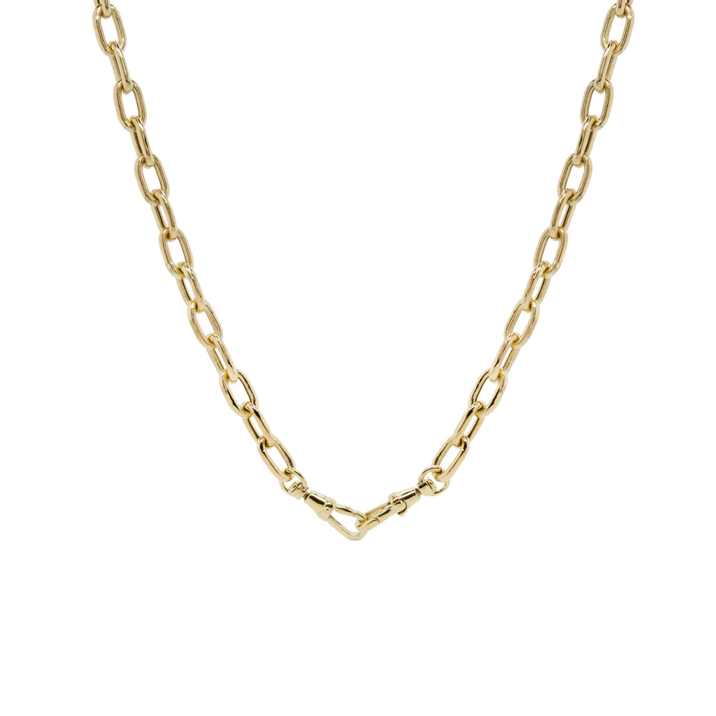 14k gold extra large square oval link chain with two swivel clasps