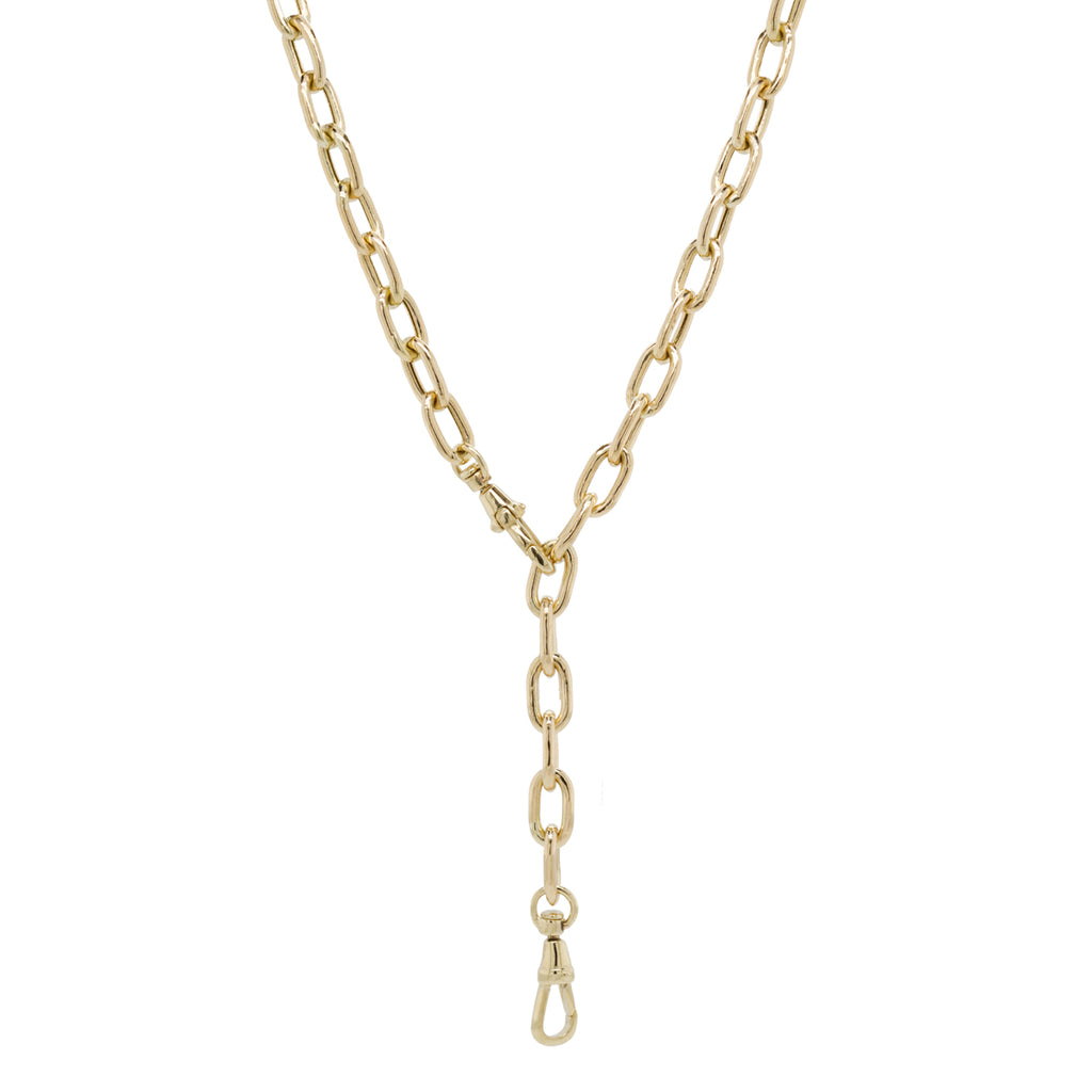 14k gold extra large square oval link chain necklace with two swivel clasps
