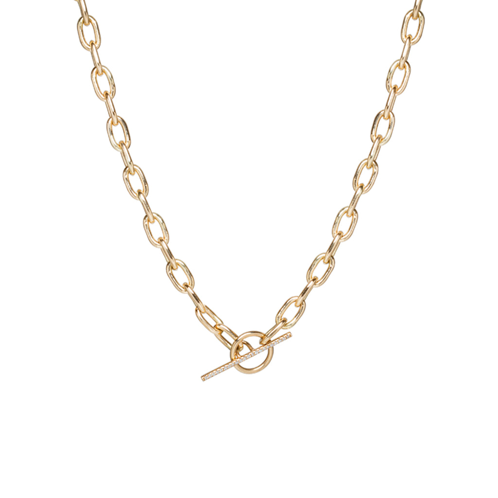 14k gold extra large square oval link chain pave diamond toggle necklace