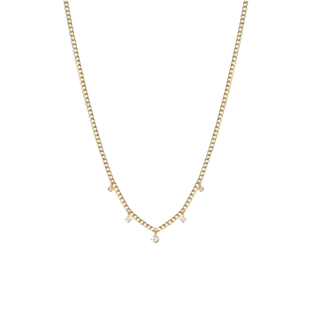 14k gold extra small curb chain necklace with 5 prong diamonds