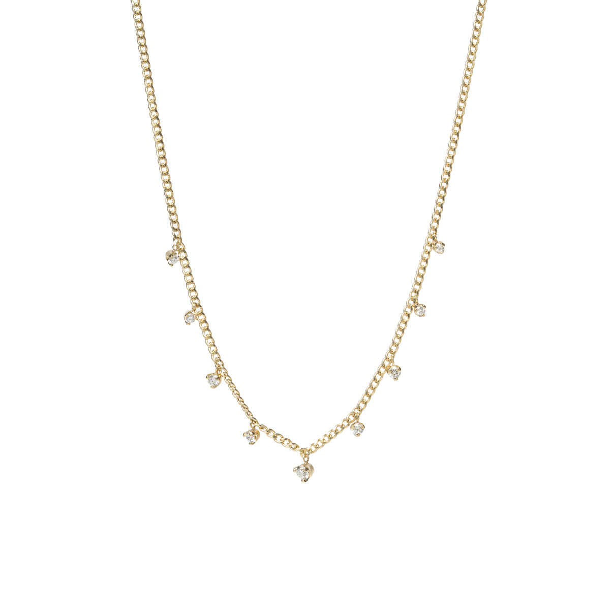 14k gold extra small curb chain necklace with 9 prong diamonds