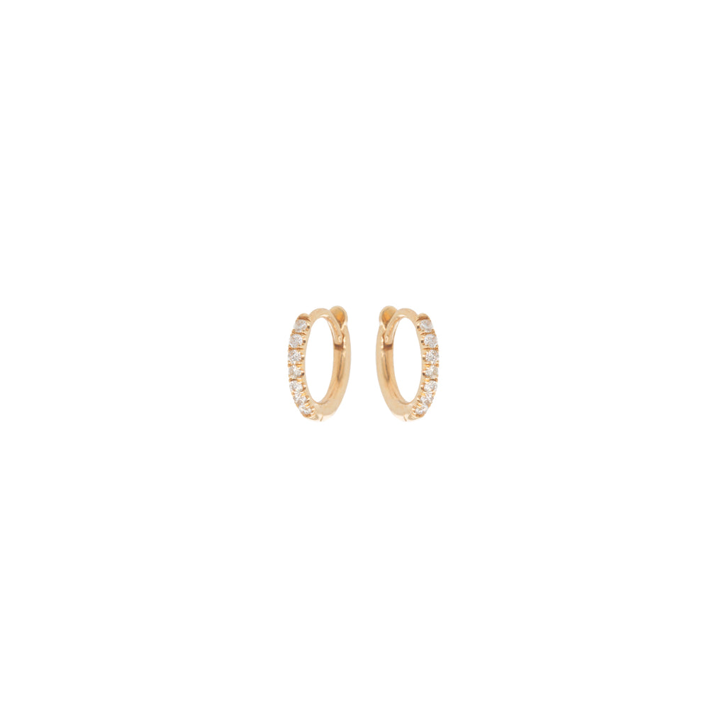 14k extra small pave diamond hinge huggie hoops