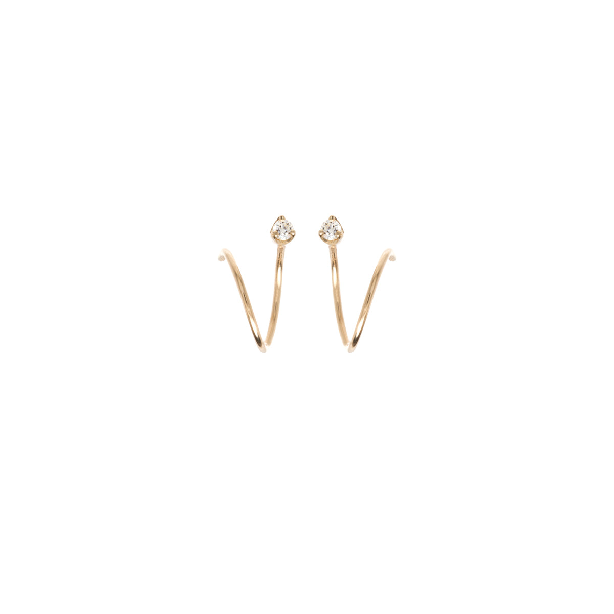 14k prong diamond bar swirl hoops