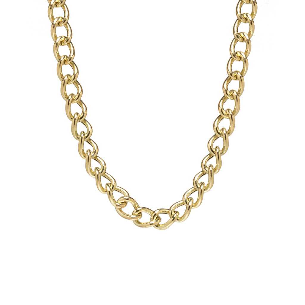 14k gold XXL open link curb chain necklace