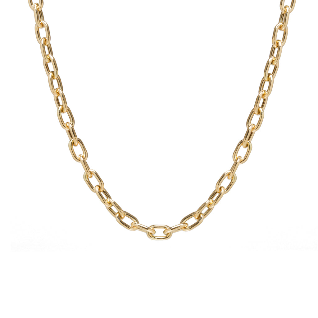 14k gold XXL square oval link chain necklace