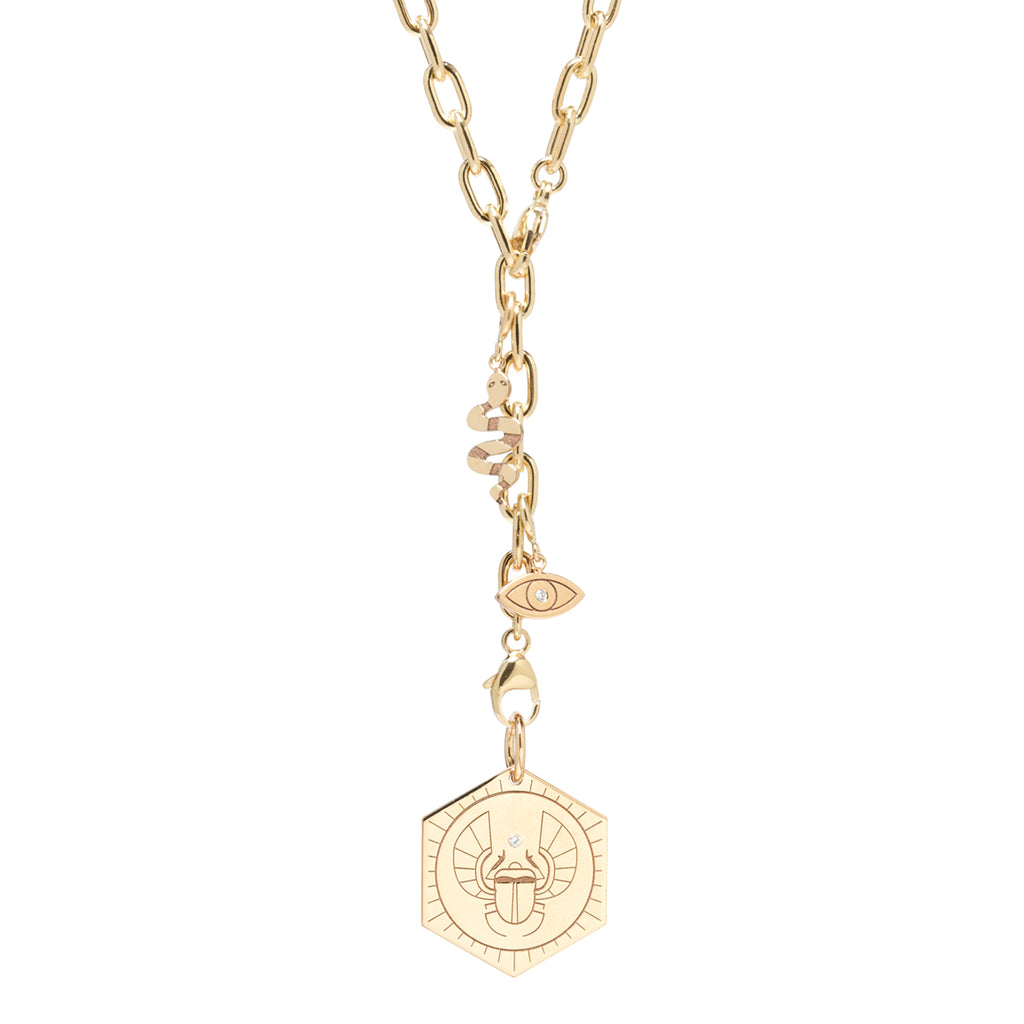 20x20 | Zoë Chicco | Jessica Malaty Rivera | 14k adjustable lariat necklace with medallion and mixed charms