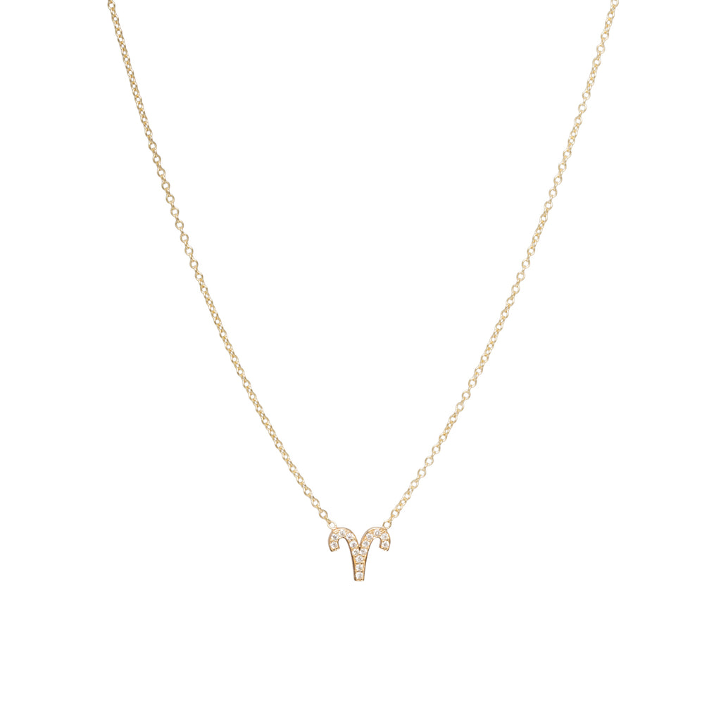 14k midi bitty pave zodiac necklace