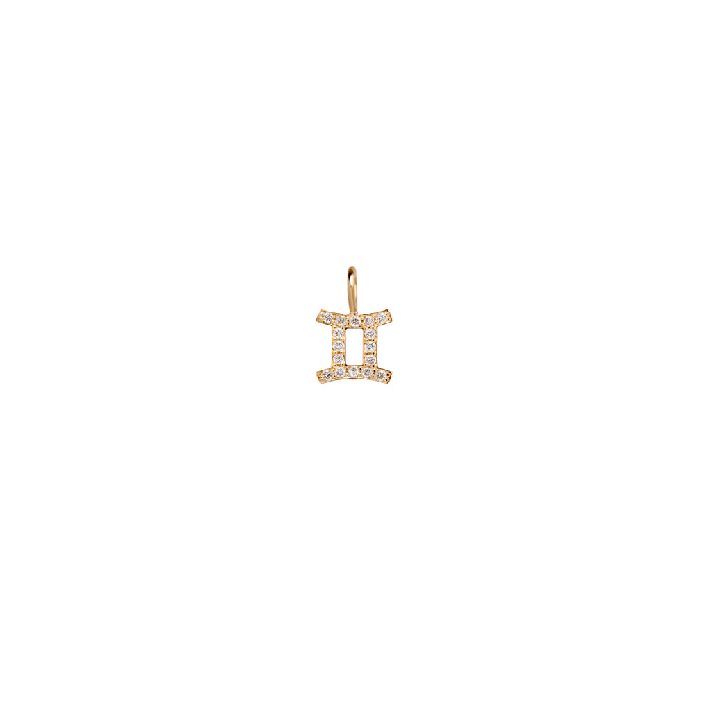 14k single midi bitty pave diamond zodiac charm