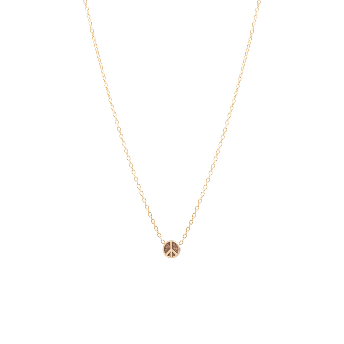 14k itty bitty peace sign necklace