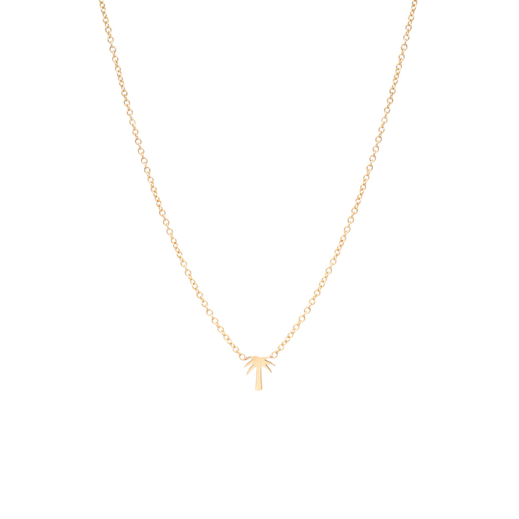 14k itty bitty palm tree necklace