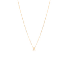 14k itty bitty wishbone necklace