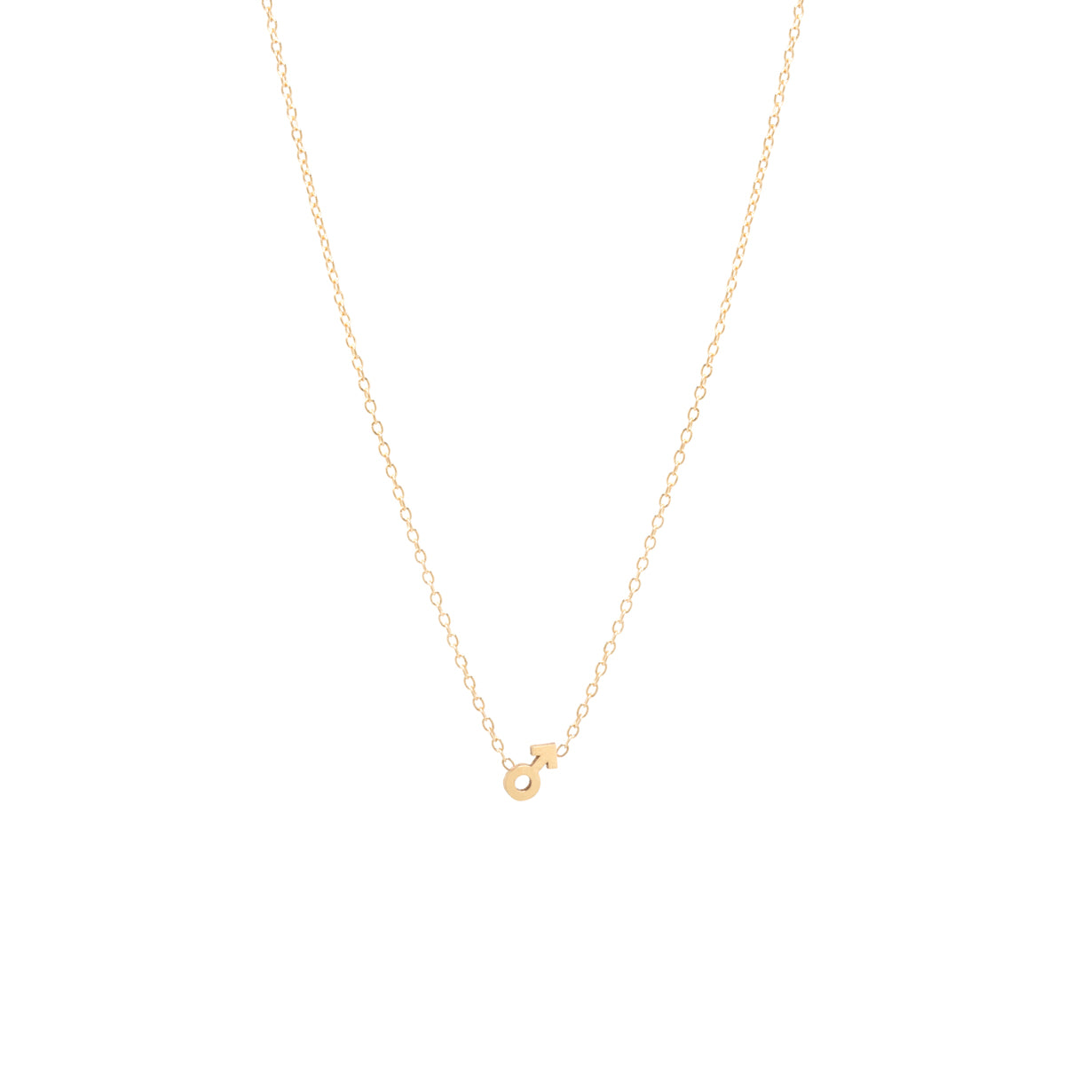 14k itty bitty male symbol necklace